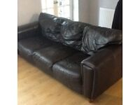 3 seater leather sofa brown free to collector