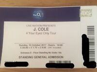 J Cole standing ticket. London. 15.10.2017