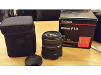 Sigma 30mm F1.4 lens nikon fit