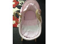Baby girls Moses basket with rocking stand