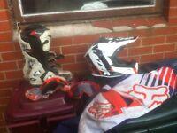 Motocross gear helmet boots jersey pants . Kit