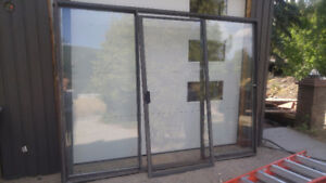 Free Glass Sliding Door with Dark Brown Frame