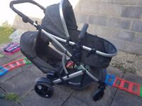 HAUCK DUETT 2 DOUBLE TANDEM TWIN PUSHCHAIR PRAM STROLLER BUGGY+RAINCOVERS
