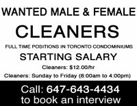 ★CALL NOW★CLEANING JOBS IN MISSISSAUGA ★