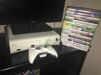 Xbox 360 with controller and 17games