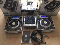 2 X Numark NDX900 CDJ's, Numark M3 mixer & Sennheiser SD 215 Headphones