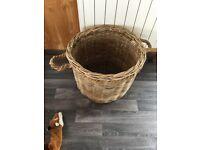Rattan Round Wicker Log Storage Basket Fireplace Wood Fire Kindling rope handles