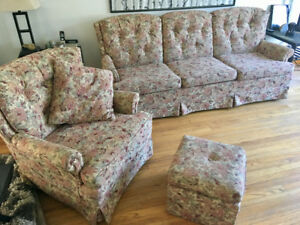 Matching couch, chair, ottoman, and throw pillow