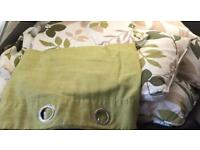 90 long 60 wide green and mink flowered curtains with 4 matching cushion and pillows