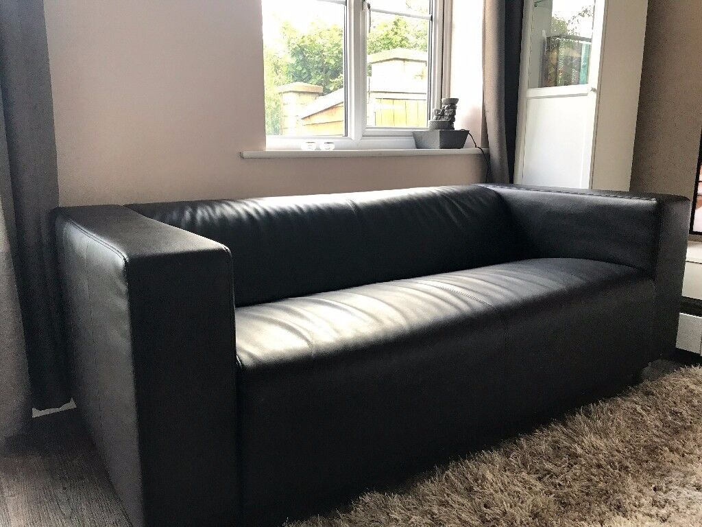 Ikea Klippan Two Seat Sofa Kimstad Black Leather Excellent