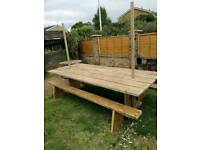 Reclaimed garden table with benches (brand new)