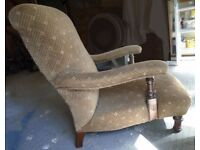 Victorian chair - restoration project. Handsome nursing/drinking chair with moulded arms