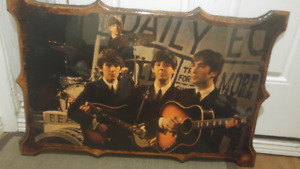 1960's Beatles photo mounted on wood plaque