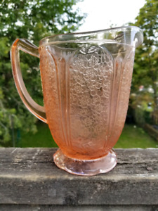 Rare Pink Depression Glass Pitcher Cherry Blossom Scalloped base