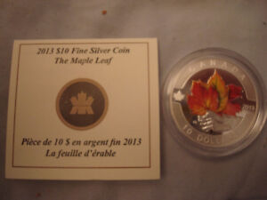 2013 Colored Maple Leaf Silver Coin