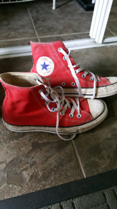 Unisex red hightop converse chucks size 5.5 men's and 7.5 women'