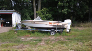 Tempest boat motor and trailer