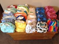 Bundle of Reusable/Cloth nappies 34 + wraps, inserts