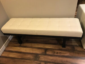 Real Leather Asian Design Ottoman/ bench