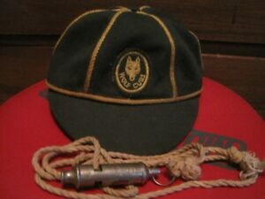 Vintage Wolf Cub's cap and Boy Scout whistle/lanyard