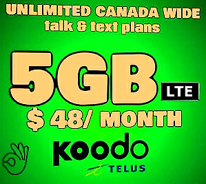 Koodo 5GB LTE PLAN $ 48 LIMITED 6GB OFFER ! ! !