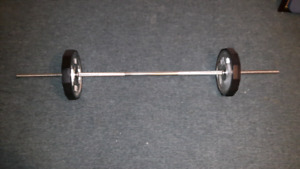 SQUAT LIFT BAR WITH 25 LB WEIGHTS RUBBER CASING PROTECTS FLOORS