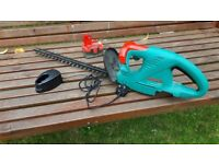 BOSCH CORDLESS HEDGE TRIMMER WITH CHARGER AND BATTERY, £30;