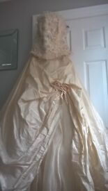 Champagne two piece wedding gown size 10