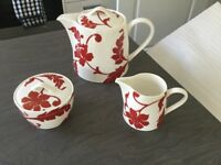MARKS AND SPENCERS RED AND WHITE DAMASK BONE CHINA TEA SET WITH TEAPOT AND SUGAR BOWL