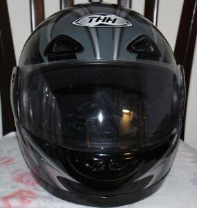 Motorcycle Helmet, Black/ Silver -- THH-DOT