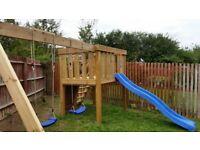 Childrens Wooden Garden Play Set (swings, slide, climbing rocks) - Made In Your Garden