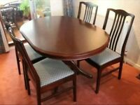 Solid wood Stag extendable table and 4 chairs
