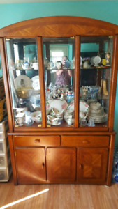 Dining Table, Four Chairs and Matching Buffet Hutch