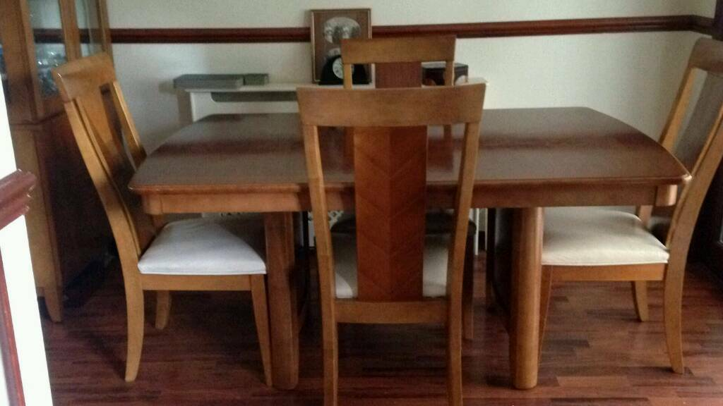 Solid Wood Dining Extending Table 6 Chairs And Display Dresser