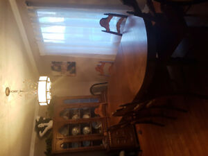 Dining set: table chairs cabinet China