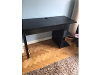 Ikea Black/Brown desk with drawer/cable tidy and open shelving
