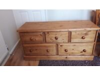 Solid wood pine large chest of drawers