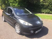 PEUGEOT 207 1.6 HDI 56 REG 3 DOOR IN BLACK WITH BLACK TRIM AND MOT MARCH 2018, £30 PER YEAR TAX