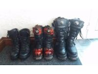 new rock boots goth gothic cadet boots shoes size 4 eur 37