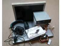 Laptop, monitor, psu, DVD drive, usb card, and gaming headset