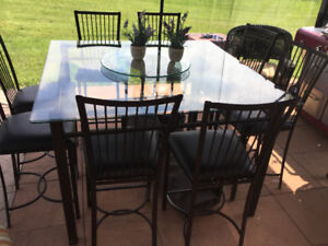 Dining or patio set with eight chairs and lazy Susan