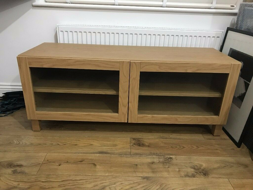 Ikea Besta Tv Bench Cabinet With Glass Doors And Bespoke Air Cooling System Oak Effect