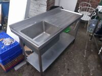 Stainless steel kitchen bench/sink unit - catering equipment