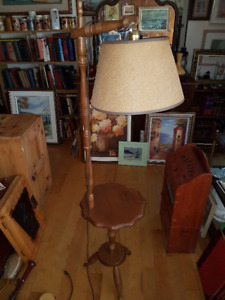"Beautiful vintage lamp on the wooden stand 58""tall"