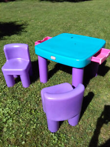 High chair,walker,table set,toys,books