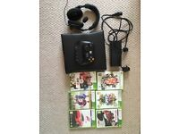 XBOX 360 with controller + chatpad, turtle beach headset and games