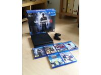Playstation 4 - Complete with cables, box and 1 controller & 6 games