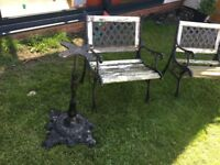Cast Iron bistro chairs and table