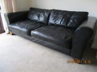 John Lewis Black Leather Executive Sofa
