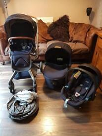 Mamas And Papas Mylo 2 navy and tan Travel System Huge set